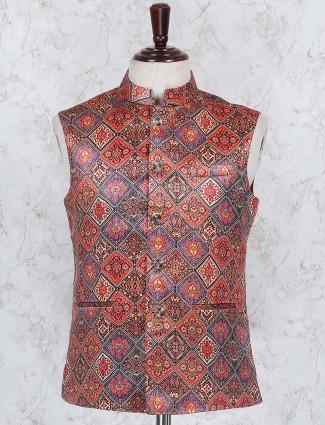 Rde colored terry rayon fabric waistcoat