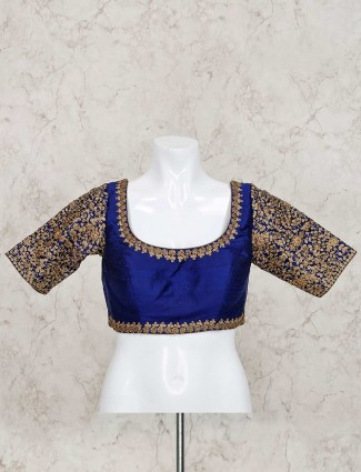 Ready made blouse in royal blue raw silk