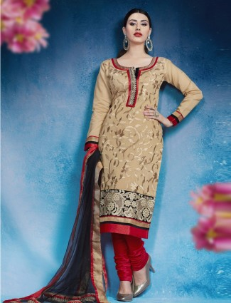 Ready made cotton silk festive wear beige salwar suit