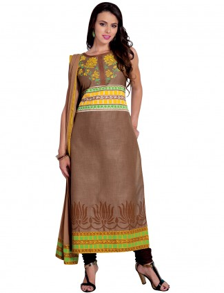 Ready made festive brown cotton silk salwar suit
