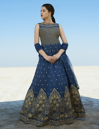 Ready made Navy color silk fabric anarkali suit