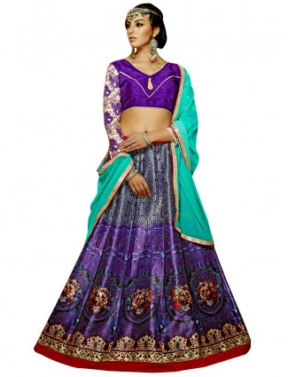 Ready made printed benglori silk violet party wear lehenga choli