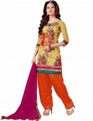 Ready made printed yellow cotton silk festive wear punjabi salwar suit