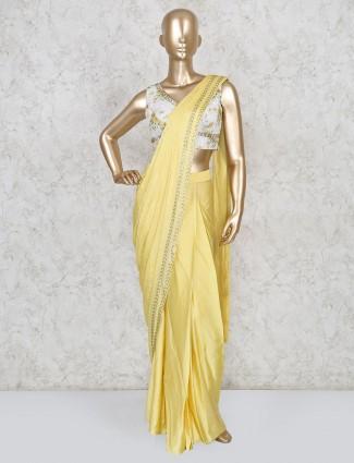 Ready to wear yellow satin saree