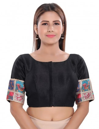 Readymade black blouse in black cotton silk