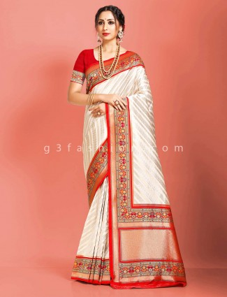 Reception occasion cream art banarasi silk saree