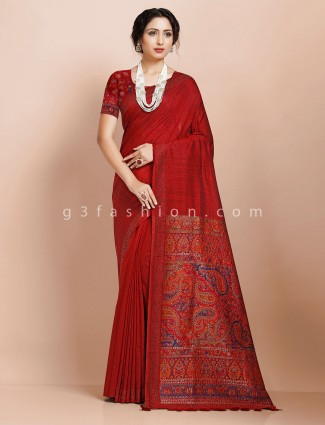 Reception occasion maroon pashmina silk saree