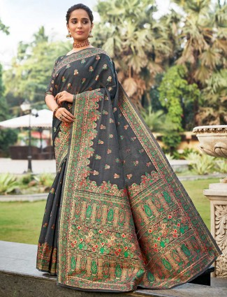 Reception special dark grey saree in handloom silk