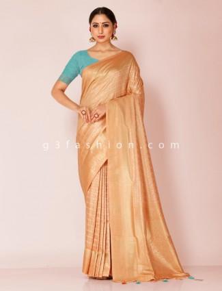 Reception wear beige art kanjivaram silk saree