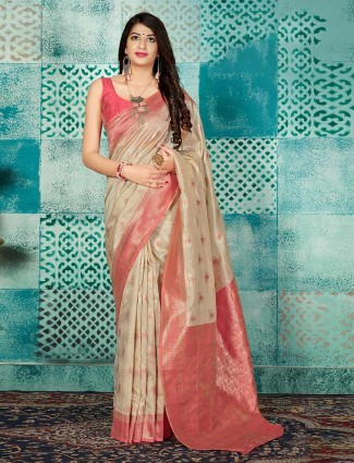 Reception wear beige banarasi silk sari
