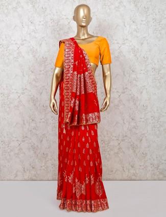 Reception wear designer red dola silk saree