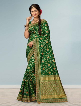Reception wear green banarasi silk saree