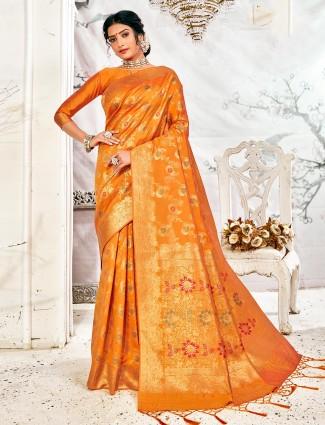 Reception wear handloom banarasi silk saree in mustard yellow