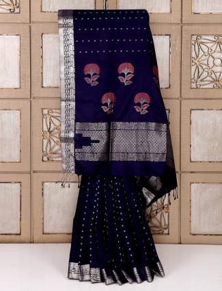 Reception wear purple color saree for party