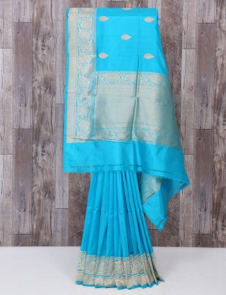 Reception wear sky blue color saree