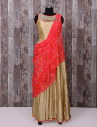 Red and beige anarkali suit