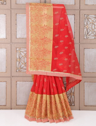 Red and beige cotton festive saree