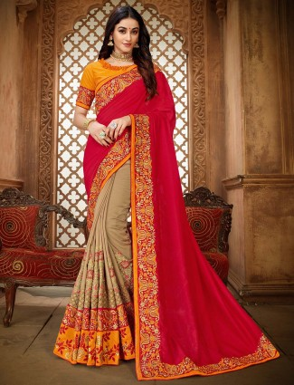 Red and beige half and half embroidered saree