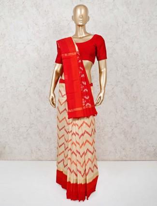 Red and beige hyderabadi patola silk saree