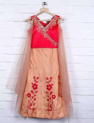 Red and beige raw silk festive lehenga choli