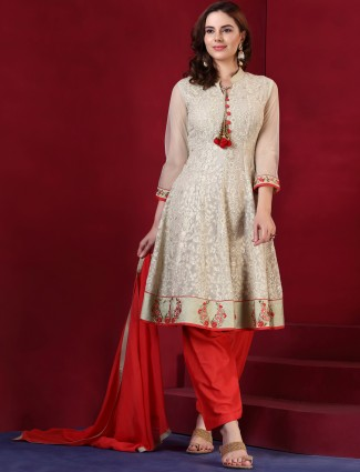 Red and beige salwar  suit in silk