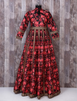 Red and black color silk gown