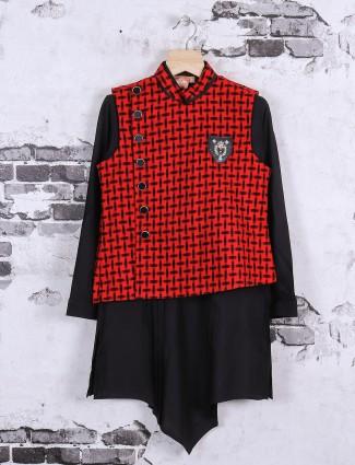 Red and black jute waistcoat set