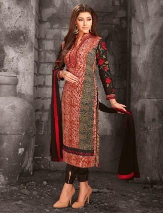 Red and black printed salwar suit