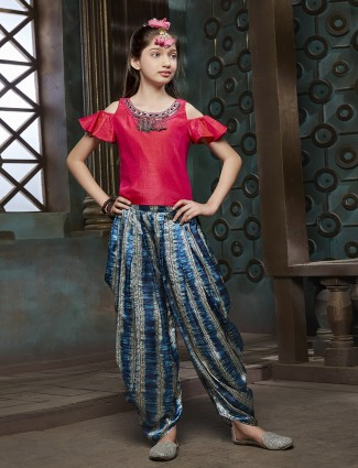 Red and blue color dhoti suit