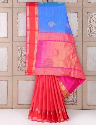 Red and blue silk fabric saree for festive