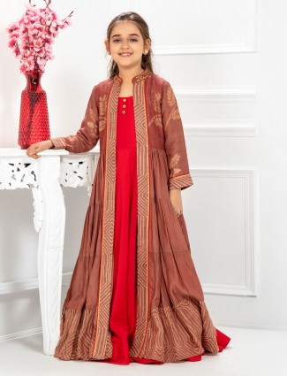 Red and brown jacket style cotton gown