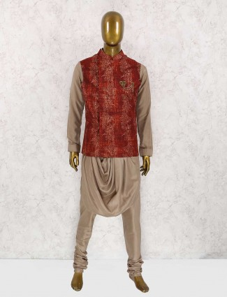 Red and brown jute silk waistcoat set
