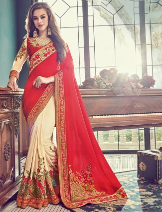 Red and cream hue wedding wear saree