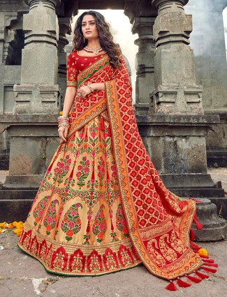Red and gold banarasi silk lehenga choli for bride