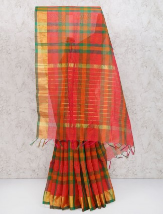 Red and green cotton silk saree