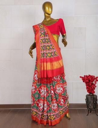 Red and green hand weaved patan patola saree