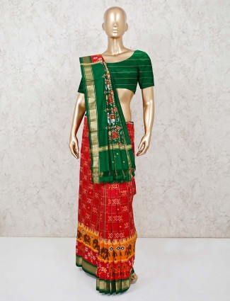 Red and green hydrabadi patola silk saree with matching blouse piece