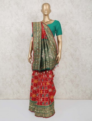 Red and green patola silk saree for wedding days