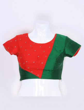 Red and green raw silk fabric ready made blouse