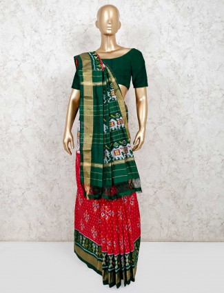 Red and green saree design in patola silk