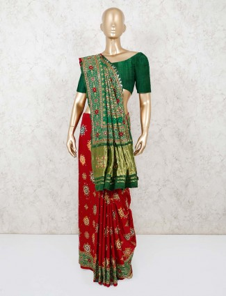 Red and green thread work bandhani saree for festivals