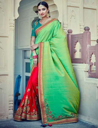 Red and green tussar silk half and half saree