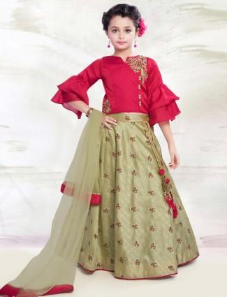 Red and light green hued designer lehenga choli