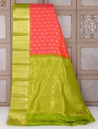 Red and light green kanchipuram pattu silk bridal saree