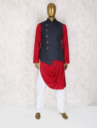 Red and navy terry rayon party waistcoat set