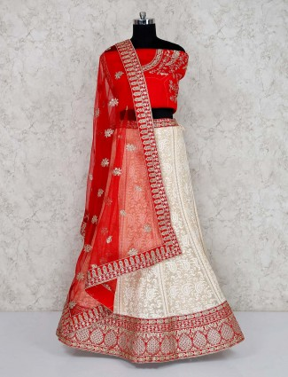 Red and off white georgette semi stitched lehenga choli