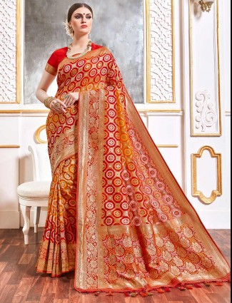 Red and orange bandhej georgette for wedding and reception