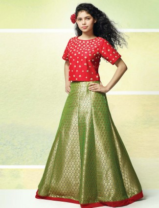 Red and parrot green lehenga choli