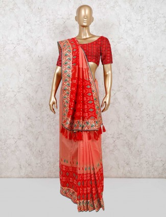 Red and peach wedding saree in patola silk