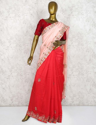 Red and pink half and half pure silk saree